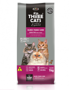 Embalagem Ração Thrre Cats Adultos Todas as Raças Salmão, Frango e Carne